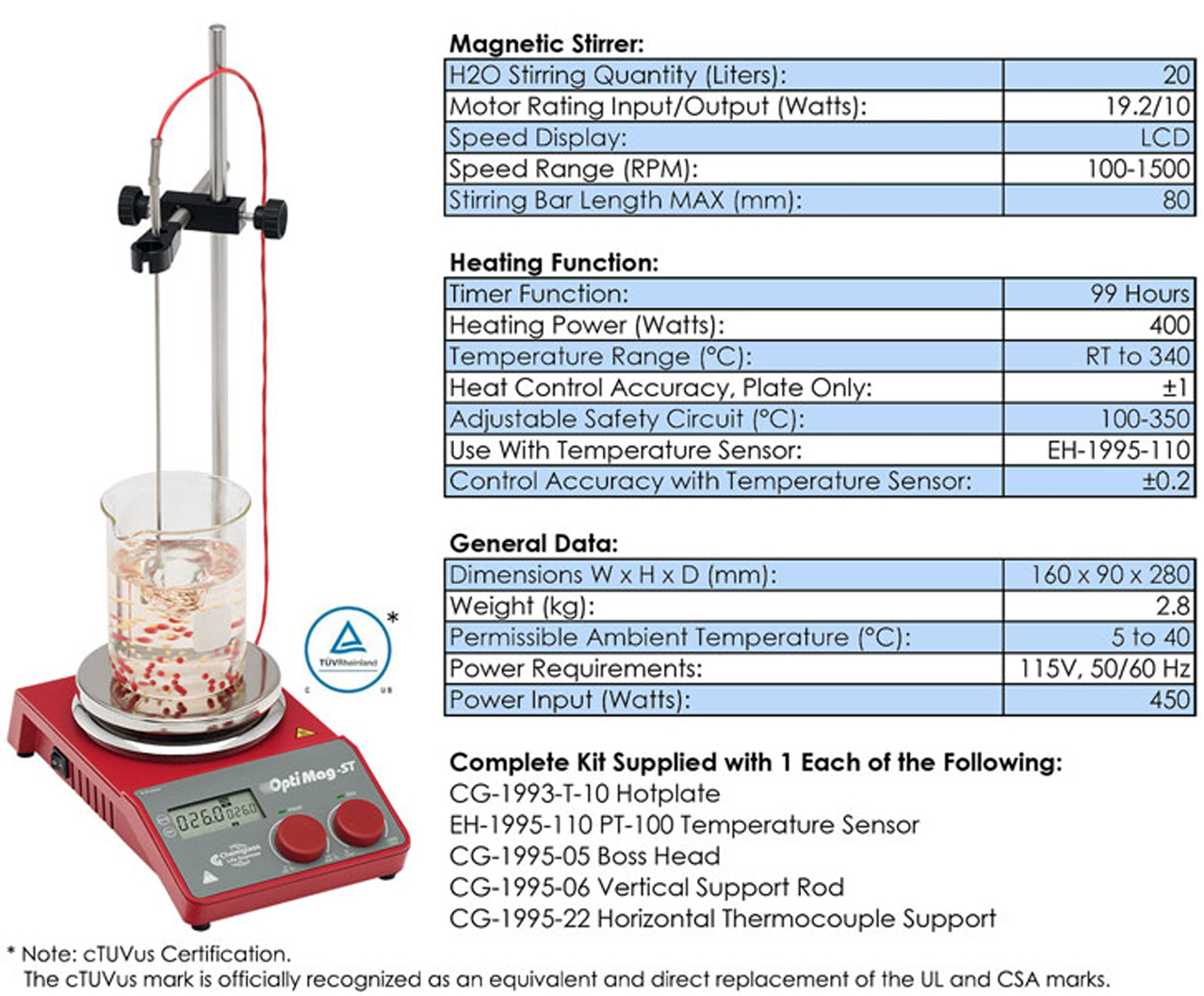 OPTIMAG ST, MAGNETIC HOT PLATE STIRRERS WITH TIMERS | GPE